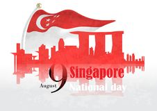 Singapore national day background. Singapore flag and city skyline. vector illustration on the occasion of singapore national day stock illustration