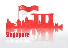 Singapore national day background. Singapore flag and city skyline. vector illustration on the occasion of singapore national day royalty free illustration