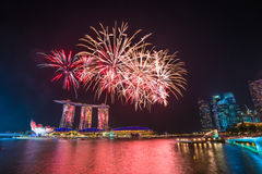 Singapore National Day dress rehearsal Sands Hotel fireworks Royalty Free Stock Images