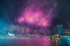 Singapore National Day dress rehearsal Sands Hotel fireworks Royalty Free Stock Photography
