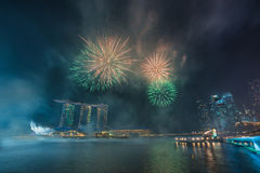 Singapore National Day dress rehearsal Sands Hotel fireworks Stock Photography