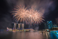 Singapore National Day dress rehearsal Sands Hotel fireworks Royalty Free Stock Photos
