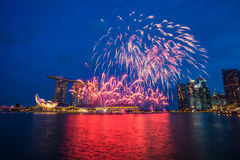 Singapore National Day dress rehearsal Sands Hotel fireworks Stock Image