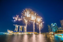 Singapore National Day dress rehearsal Sands Hotel fireworks Royalty Free Stock Photo