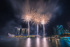 Singapore National Day dress rehearsal Sands Hotel fireworks Stock Photos