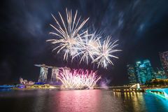 Singapore National Day dress rehearsal Sands Hotel fireworks Stock Photo