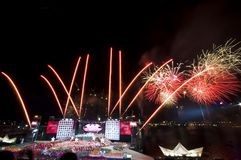 Singapore National Day Fireworks Stock Images