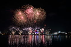 Singapore National Day Fireworks 2016 6 Stock Photography
