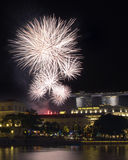 Singapore National Day Fireworks over Fullerton Royalty Free Stock Image