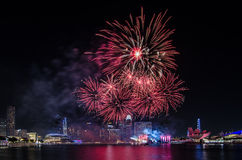 Singapore National Day`s Firework. MARINA BAY, SINGAPORE – June 25, 2017: Beautiful firework display at Singapore Marina Bay for Singapore National Day Parade Royalty Free Stock Images
