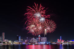 Singapore National Day`s Firework. MARINA BAY, SINGAPORE – June 25, 2017: Beautiful firework display at Singapore Marina Bay for Singapore National Day Parade Royalty Free Stock Photo
