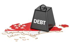 Singapore national debt or budget deficit, financial crisis. Singapore national debt or budget deficit, financial crisis concept, 3D Royalty Free Stock Photography