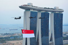 Singapore national flag fly past during NDP 2011 Royalty Free Stock Image