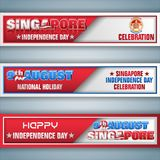 Singapore, National holiday celebration, web banners. Set of web banners with 3d texts and national flag colors for ninth of August, Singapore Independence day vector illustration