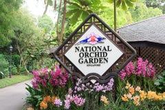 Singapore national orchid garden sign Stock Photos