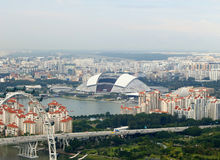 Singapore National stadium. View of various Singapore districts with the National Stadium in the center, November 2016 royalty free stock photography