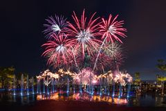 Singapore NDP Final Preview of Firework 2016. Singapore - July 30, 2016: The final fireworks preview of Singapore`s National Day Rehearsal at the Singapore Stock Image