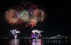 Singapore NDP Fireworks 2016 2. Fireworks celebrating Singapore national day across the Kallang River Royalty Free Stock Image