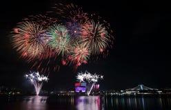 Singapore NDP fyrverkerier 2016 2 Royaltyfri Bild