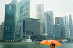 Singapore nella pioggia Fotografia Stock Libera da Diritti