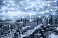 Singapore network connection with line of network connection. Singapore network connection city with line of network connection in background. Smart city Stock Photography
