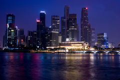 Singapore at Night. Night Scene of Business District of Singapore Royalty Free Stock Images