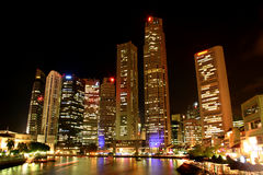 Singapore at night. From Boat Quay Royalty Free Stock Images