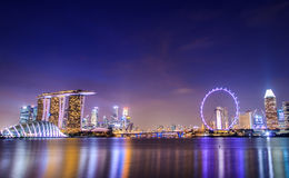 Singapore Night City Stock Image