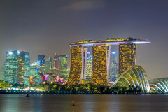 Singapore Night City. With Crowded Buildings Stock Image