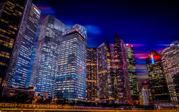 Singapore night city scape,Marina bay. Blur motion sky Stock Photo