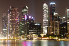 Singapore Night Cityscape. Singapore Central Business District Night Skyline Royalty Free Stock Photos