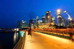 Singapore Night Cityscape at blue hour Royalty Free Stock Image