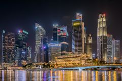 Singapore Night Cityscape royalty free stock photo