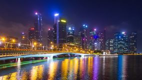 Singapore Night Cityscape 4K Time Lapse stock video