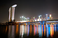 Singapore night cityscape Stock Images