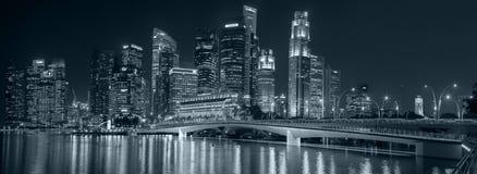 Singapore night skyline panorama Stock Photography