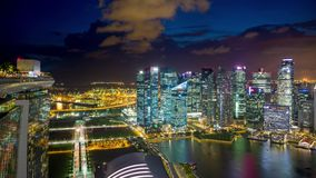 Singapore at night from Marina bay sands Timelapse stock video footage