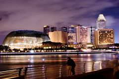 Singapore Night Scence Stock Photos
