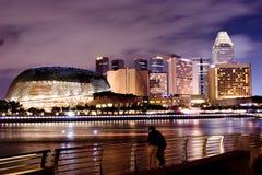 Singapore Night Scence. Brightly lit Singapore at Night Stock Photos