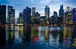 Singapore night scene. A night scene of singapore CBD on the 9 march 2012 Stock Image