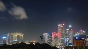 Singapore at night scene, Business downtown central Stock Photo