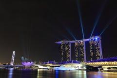 Singapore at night. Singapore show lighting at night Stock Photos