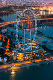Singapore at night with the Singapore Flyer. Stock Photo