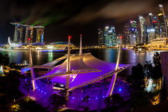 Singapore Night Skyline on the Esplanade Royalty Free Stock Images