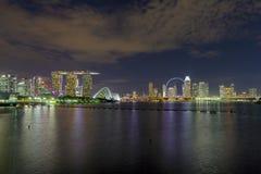 Singapore Night Skyline at Marina Bay Royalty Free Stock Photo