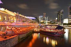 Singapore in the night time. Singapore by night and nice shot in the night time royalty free stock photos