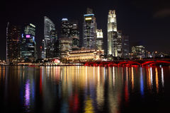 Singapore night view. With reflection Stock Images