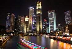 Singapore Nightime from South Bridge Road Royalty Free Stock Image