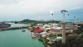 Cable car and Sentosa Island Singapore. Singapore. November 21, 2017: Aerial footage of cable car and Sentosa Island resort in Singapore stock video