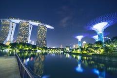 Marina Bay Sands Hotel and Supertree Grove. Singapore. November 06, 2017: Amazing landscape of Marina Bay Sands Hotel and Supertree Grove from Gardens by the Bay Stock Images